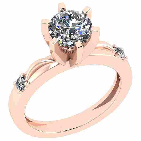 Certified 1.41 Ctw Diamond SI2/I1 14K Rose Gold Ring Si