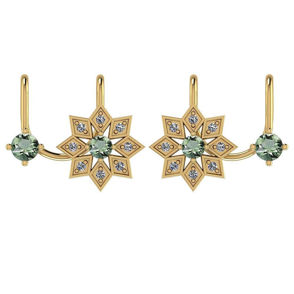 Certified 0.41 Ctw Green Amethyst And Diamond VS/SI1 10