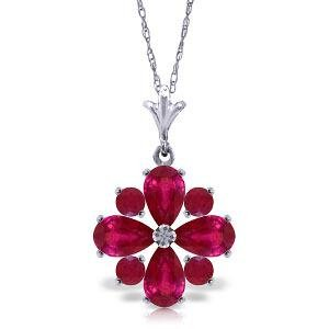 2.23 Carat 14K Solid White Gold Invincible Ruby Necklac