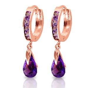 3.3 CTW 14K Solid Rose Gold Huggie Earrings Dangling Am