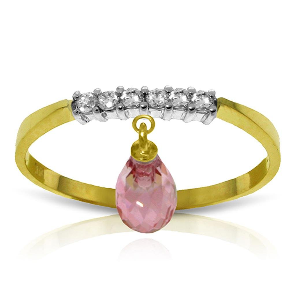 1.45 Carat 14K Solid Gold Ring Natural Diamond Dangling