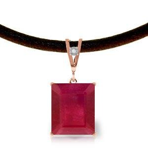 14K Solid Rose Gold & Leather Necklace withDiamond & Ru