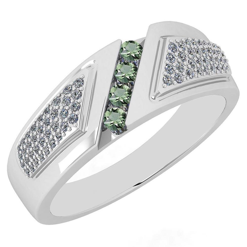 Certified 0.71 Ctw Green Amethyst And Diamond VS/SI1 18