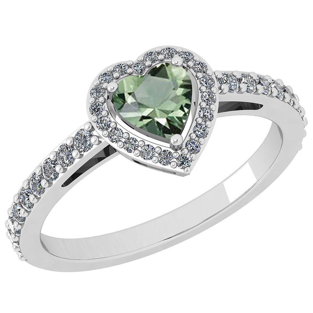 Certified 0.90 Ctw Green Amethyst And Diamond VS/SI1 We