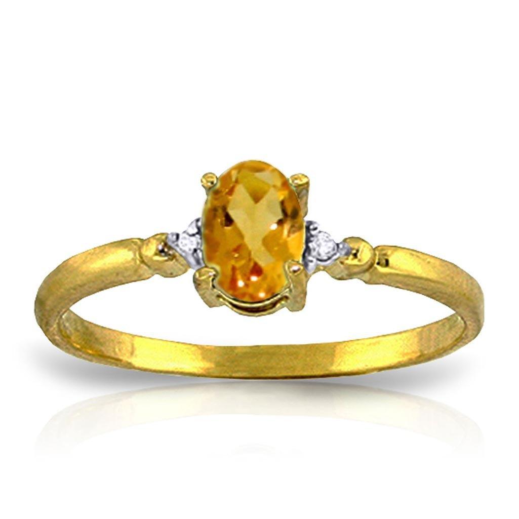 0.46 Carat 14K Solid Gold Citrine Rules Citrine Diamond