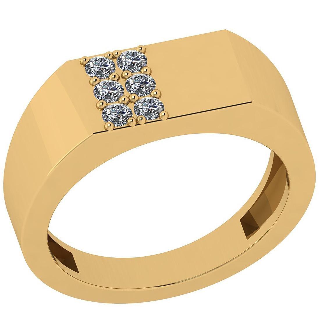 Certified 0.15 Ctw Diamond I1/I2 10k Yellow Gold Band R