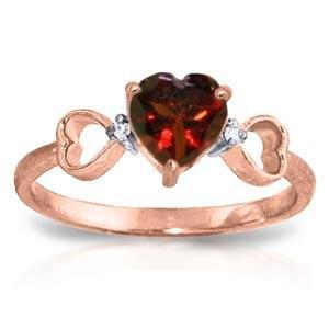 0.96 CTW 14K Solid Rose Gold Tri Heart Garnet Diamond R