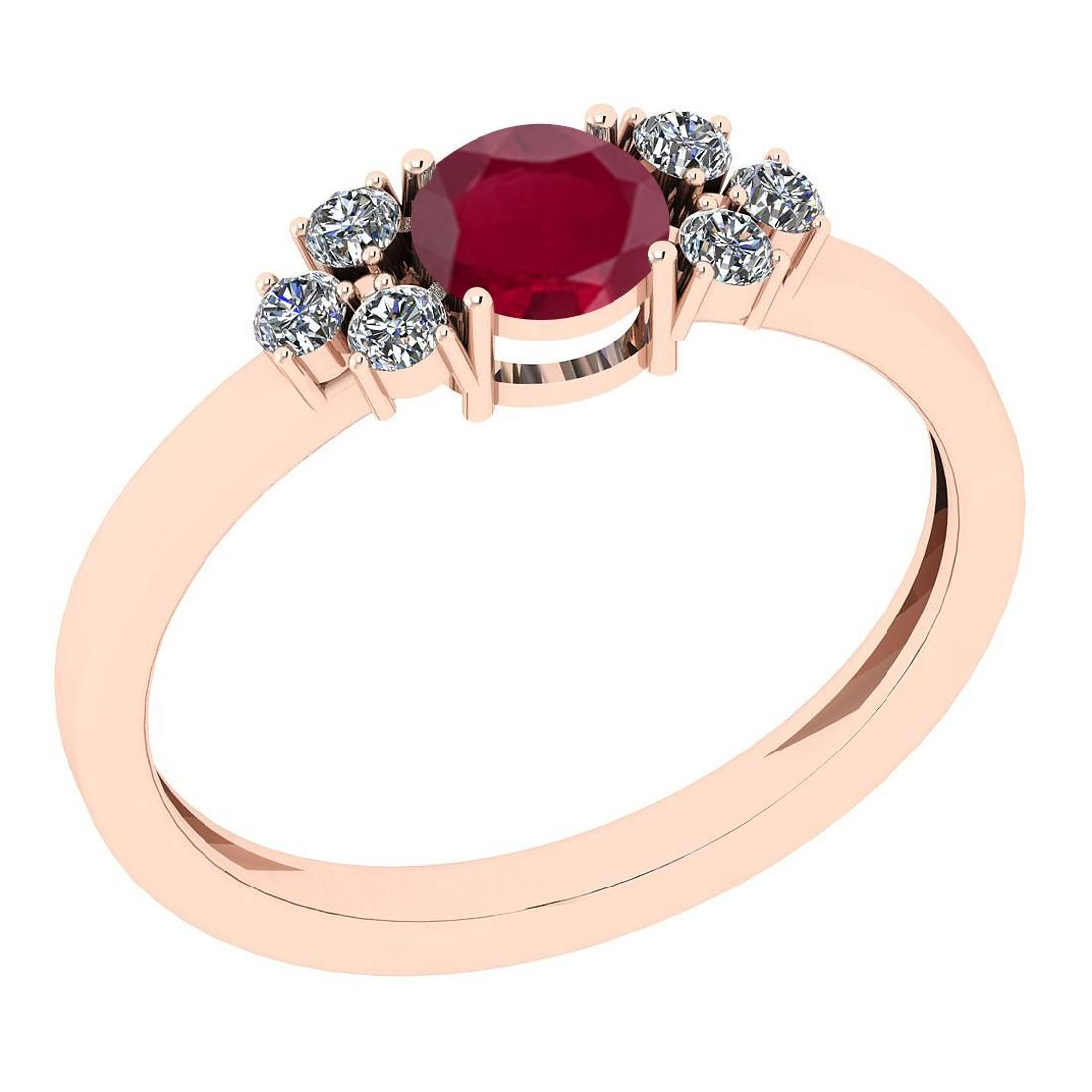Certified 0.96 Ct Ruby and Diamond SI2/I1 14K Rose Gold
