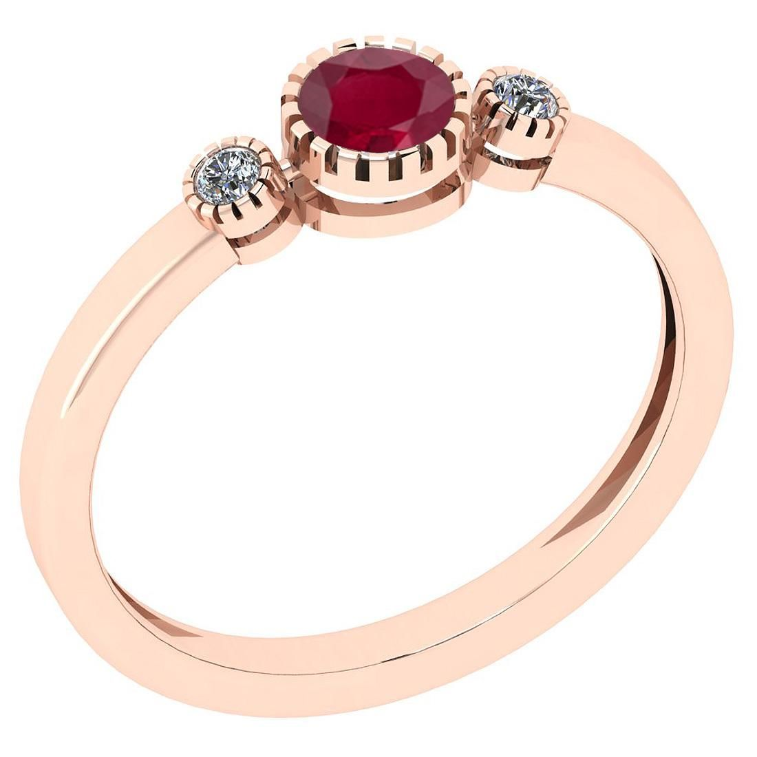 Certified 0.32 Ct Ruby and Diamond SI2/I1 14K Rose Gold