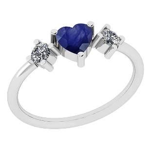 Certified 0.58 Ctw Blue Sapphire And Diamond VS/SI1 18k
