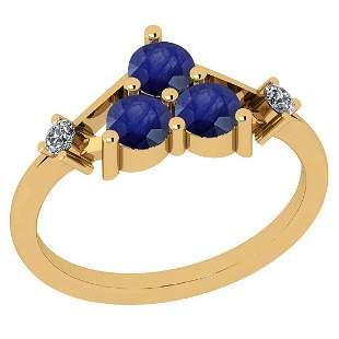 Certified 0.80 Ctw Blue Sapphire And Diamond VS/SI1 18K