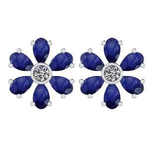 Certified 3.20 Ctw Blue Sapphire And Diamond VS/SI1 18k