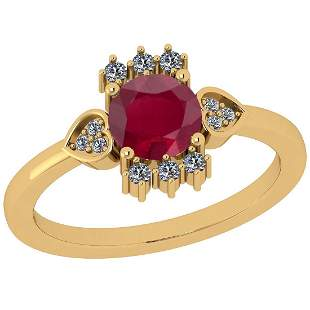 Certified 1.14 Ctw Ruby And Diamond VS/SI1 18K Yellow G