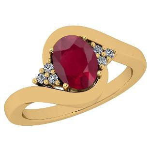Certified 1.37 Ctw Ruby And Diamond VS/SI1 18K Yellow G