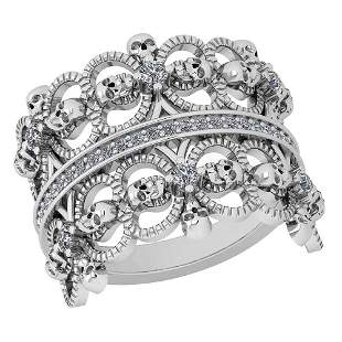 Certified 0.33 Ctw Diamond SI1/SI2 Antique Style Skull