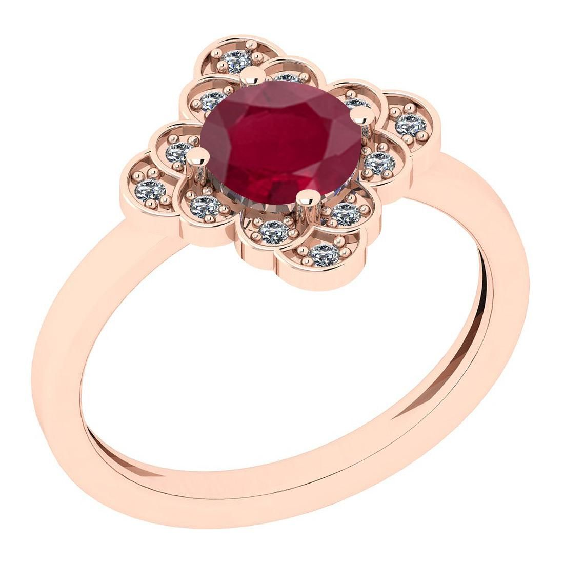 Certified 1.09 Ct Ruby and Diamond SI2/I1 14K Rose Gold