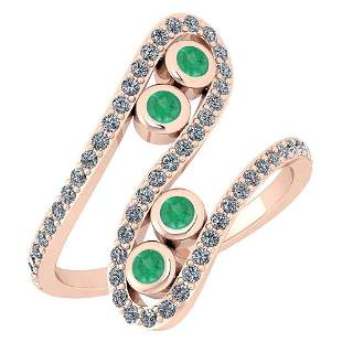 Certified 0.62 Ctw Emerald And Diamond SI1/SI2 Eternity