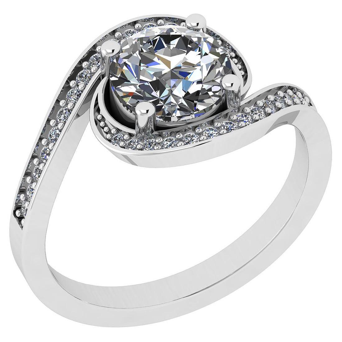 Certified 0.96 Ct Diamond I2/I3 10K White Gold Vintage