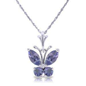 0.6 Carat 14K Solid White Gold Butterfly Necklace Tanza