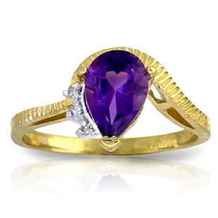 1.52 Carat 14K Solid Gold Ring Diamond Purple Amethyst