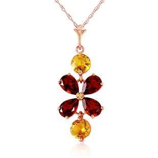 3.15 Carat 14K Solid Rose Gold Necklace Garnet Citrine