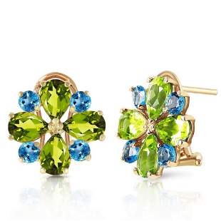 4.85 Carat 14K Solid Gold French Clips Earrings Peridot