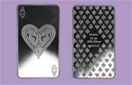 10 oz Silver Bars - Ace of Hearts