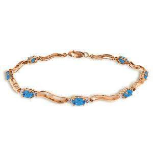 14K Solid Rose Gold Tennis Bracelet withDiamonds & Blue