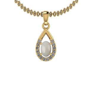 Certified 0.41 Ctw Opal And Diamond I2/I3 14K Yellow Go
