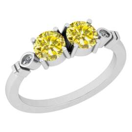 Certified 1.03 Ctw Treated Fancy Yellow Diamond And Whi