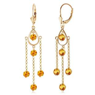 3 CTW 14K Solid Gold Gilded Age Citrine Earrings
