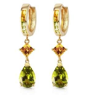 5.15 CTW 14K Solid Gold Huggie Earrings Dangling Perido