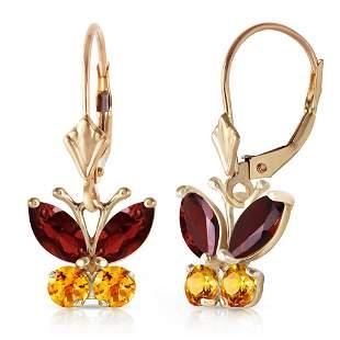 1.24 CTW 14K Solid Gold Butterfly Earrings Garnet Citri