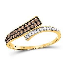 10kt Yellow Gold Womens Round Brown Diamond Bypass Band