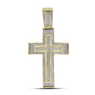 10kt Yellow Gold Mens Round Diamond Cross Crucifix Char