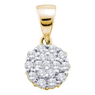 14kt Yellow Gold Womens Round Diamond Flower Cluster Pe