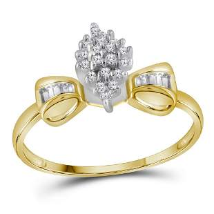 10kt Yellow Gold Womens Round Prong-set Diamond Oval Cl