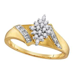 10kt Yellow Gold Womens Round Diamond Cluster Ring 1/10