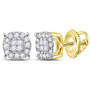 14kt Yellow Gold Womens Princess Round Diamond Cluster