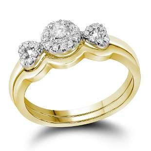 10kt Yellow Gold Round Diamond Halo Bridal Wedding Ring