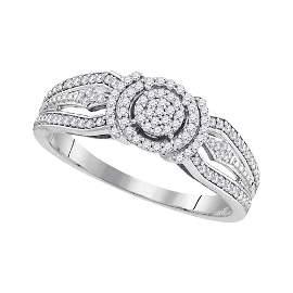 10kt White Gold Round Diamond Cluster Bridal Wedding En