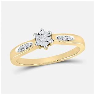 Yellow-tone Sterling Silver Round Diamond Solitaire Bri