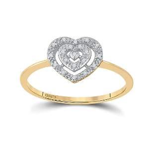 10kt Yellow Gold Womens Round Diamond Slender Heart Clu