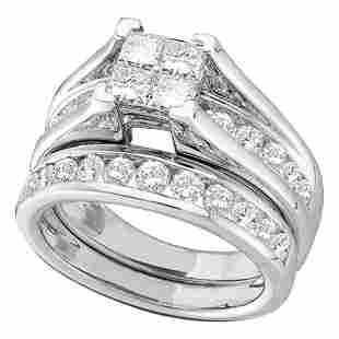14kt White Gold Princess Diamond Bridal Wedding Ring Ba
