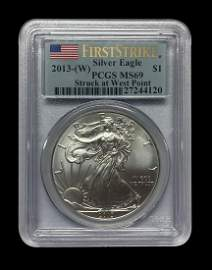 Certified Uncirculated Silver Eagle 2013-W MS69 PCGS Fi