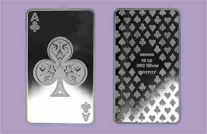 10 oz Silver Bars - Ace of Clubs