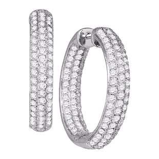 14kt White Gold Womens Round Pave-set Diamond Inside Ou