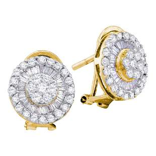 14kt Yellow Gold Womens Round Diamond Cluster French-cl