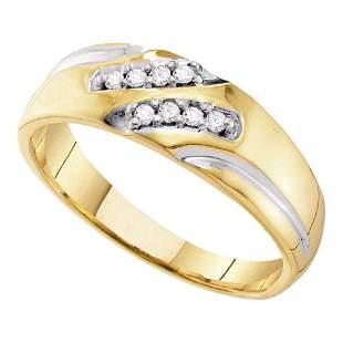 10kt Yellow Gold Mens Round Diamond Two-tone Wedding Ba