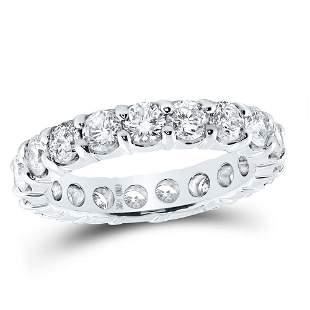 14kt White Gold Womens Round Diamond Eternity Wedding A
